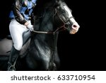 Stock photo black horse race on a track detail 633710954
