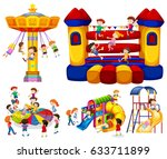 children playing on different... | Shutterstock .eps vector #633711899