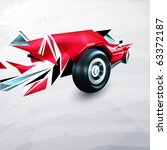 Abstract Red Racing Car Painte...