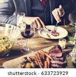 bride and groom having meal... | Shutterstock . vector #633723929