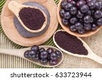 fruits and acai powder... | Shutterstock . vector #633723944