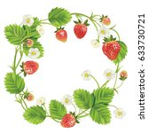 strawberry with leave  water... | Shutterstock .eps vector #633730721