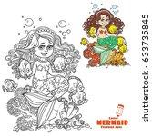 cute little mermaid girl sits... | Shutterstock .eps vector #633735845