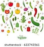 fresh vegetables organic... | Shutterstock .eps vector #633743561