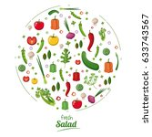 fresh salad food nutrition...   Shutterstock .eps vector #633743567