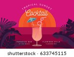 tropical sunset cocktail... | Shutterstock .eps vector #633745115