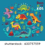 set with a colorful dinosaurs.... | Shutterstock .eps vector #633757559