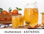 jug and glasses of orange... | Shutterstock . vector #633765431