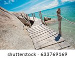 Old Wooden Bridge On Tropical...