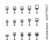 wine glass icons | Shutterstock .eps vector #633775517