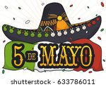 poster with charro or mariachi... | Shutterstock .eps vector #633786011