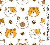 cute cat face seamless pattern... | Shutterstock .eps vector #633787097