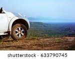 big 4x4 car at top of mountain. ... | Shutterstock . vector #633790745