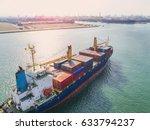 container vessel ship under...   Shutterstock . vector #633794237