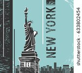 new york statue of liberty... | Shutterstock .eps vector #633802454