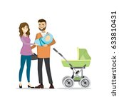 family couple with newborn baby ... | Shutterstock .eps vector #633810431