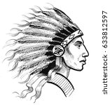 indian warrior | Shutterstock . vector #633812597