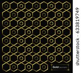 gold hexagon background texture.... | Shutterstock .eps vector #633819749