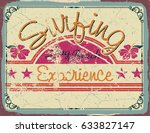poster vintage  surfing long... | Shutterstock .eps vector #633827147