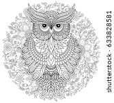 coloring book for adult and... | Shutterstock .eps vector #633828581