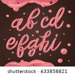 pink cream on chocolate wafer... | Shutterstock .eps vector #633858821