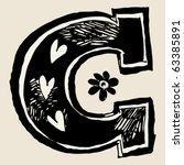 charcoal alphabet  doodle c
