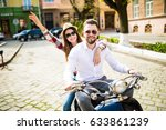 couple in love riding a... | Shutterstock . vector #633861239
