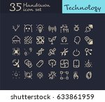 35 hand drawn technology icon.... | Shutterstock .eps vector #633861959
