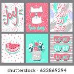set summer vector cards.trendy... | Shutterstock .eps vector #633869294
