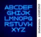 thin neon tube modern font ... | Shutterstock .eps vector #633893969