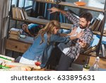 young couple quarrel  girl... | Shutterstock . vector #633895631