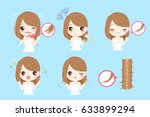 cute cartoon woman with problem ... | Shutterstock .eps vector #633899294