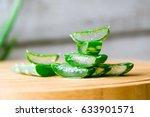 freshly sliced aloe vera leaf... | Shutterstock . vector #633901571