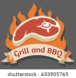 grill and barbecue cartoon logo