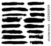 set of hand drawn brush stripes ... | Shutterstock .eps vector #633905939