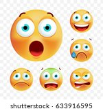 set of cute emoticons on white... | Shutterstock .eps vector #633916595