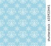 floral seamless pattern. blue... | Shutterstock .eps vector #633923441