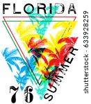 florida summer tee graphic... | Shutterstock . vector #633928259