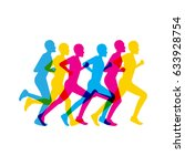 group of people running a... | Shutterstock .eps vector #633928754