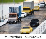 trucks  trailer and cars on... | Shutterstock . vector #633932825