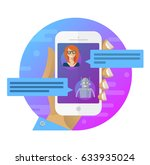 chatbot concept. man chatting... | Shutterstock .eps vector #633935024