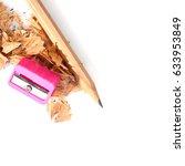pencil shavings on white... | Shutterstock . vector #633953849