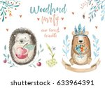 cute baby bear and decor ... | Shutterstock . vector #633964391
