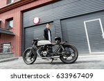 handsome rider man in black... | Shutterstock . vector #633967409