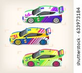 set of colorful fast motor...   Shutterstock .eps vector #633973184