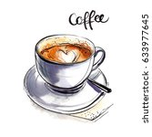 coffee cup painted with... | Shutterstock . vector #633977645