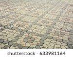 patterned paving tiles  old...   Shutterstock . vector #633981164