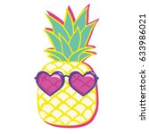 pineapple with glasses ... | Shutterstock .eps vector #633986021