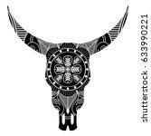 wild animal skull in black and... | Shutterstock .eps vector #633990221