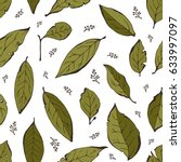 bay leaves seamless background  ... | Shutterstock .eps vector #633997097